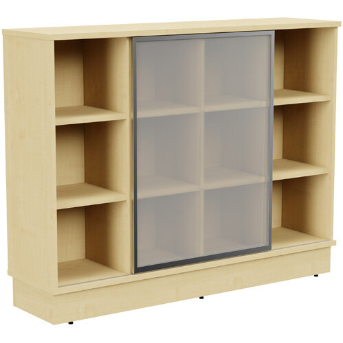 Grand Medium Cube Shelf Bookcase With Sliding Frosted Glass Door W1605xD420xH1255mm Maple