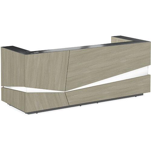 Illusion Modern Design Illuminated Arctic Oak Reception Desk with Anthracite Glass Counter Top W2800xD1000xH1100mm