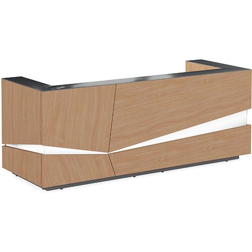Illusion Modern Design Illuminated Beech Reception Desk with Anthracite Glass Counter Top W2800xD1000xH1100mm
