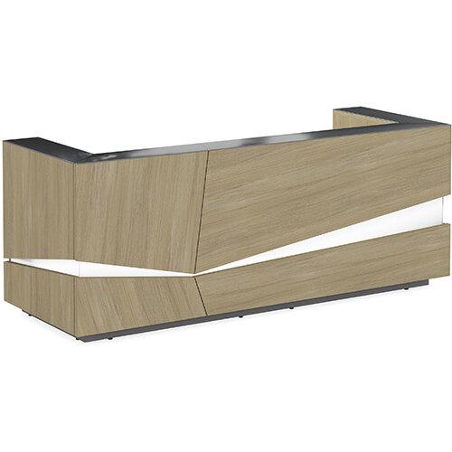 Illusion Modern Design Illuminated Urban Oak Reception Desk with Anthracite Glass Counter Top W2800xD1000xH1100mm