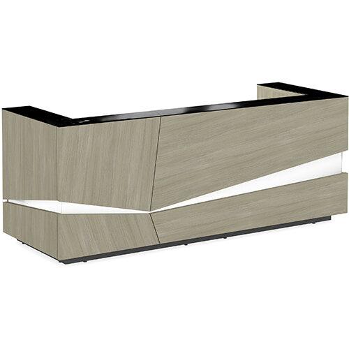 Illusion Modern Design Illuminated Arctic Oak Reception Desk with Black Glass Counter Top W2800xD1000xH1100mm