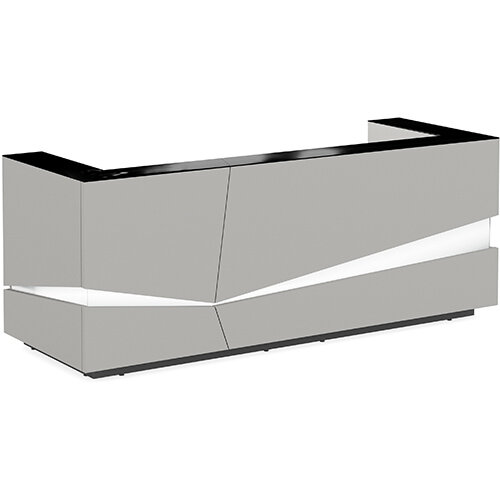Illusion Modern Design Illuminated Grey Reception Desk with Black Glass Counter Top W2800xD1000xH1100mm