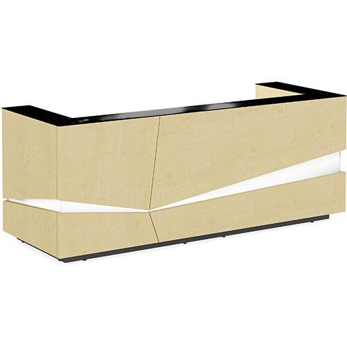 Illusion Modern Design Illuminated Maple Reception Desk with Black Glass Counter Top W2800xD1000xH1100mm