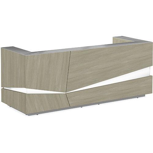 Illusion Modern Design Illuminated Arctic Oak Reception Desk with Silver Glass Counter Top W2800xD1000xH1100mm