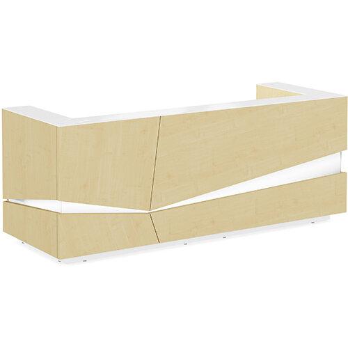 Illusion Modern Design Illuminated Maple Reception Desk with White Glass Counter Top W2800xD1000xH1100mm