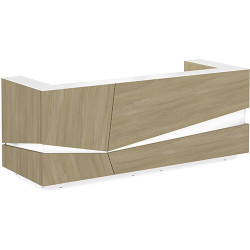 Illusion Modern Design Illuminated Urban Oak Reception Desk with White Glass Counter Top W2800xD1000xH1100mm