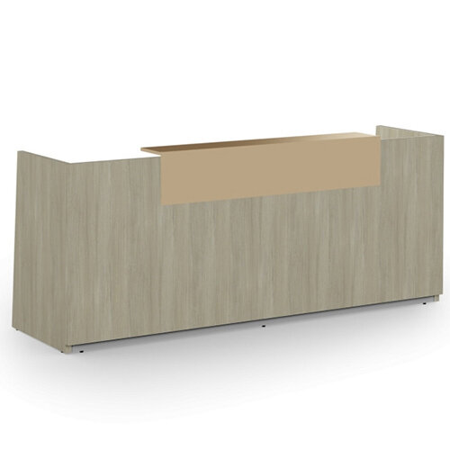 Libra Minimalist Design Arctic Oak Reception Desk With Cappuccino Acrylux Counter Top Panel W2600xD850xH1060mm