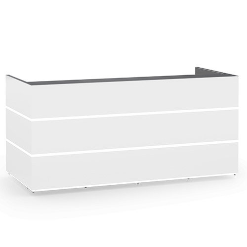 Pearl Modern Design Icy White Acrylux  Reception Desk with Anthracite Glass Counter Top W2400xD1050xH1120