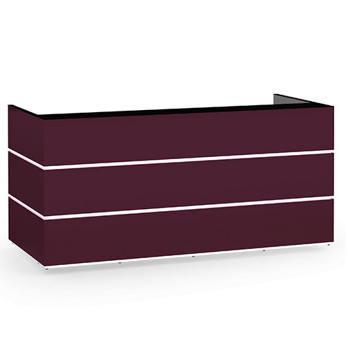 Pearl Modern Design Purple Acrylux  Reception Desk with Black Glass Counter Top W2400xD1050xH1120