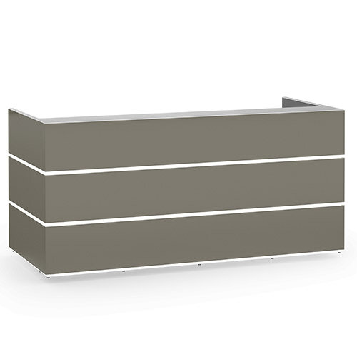 Pearl Modern Design Grey Acrylux  Reception Desk with Silver Glass Counter Top W2400xD1050xH1120