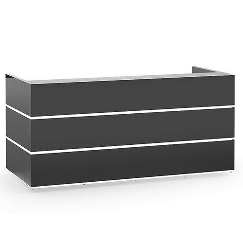 Pearl Modern Design Dark Grey Acrylux  Reception Desk with Silver Glass Counter Top W2400xD1050xH1120