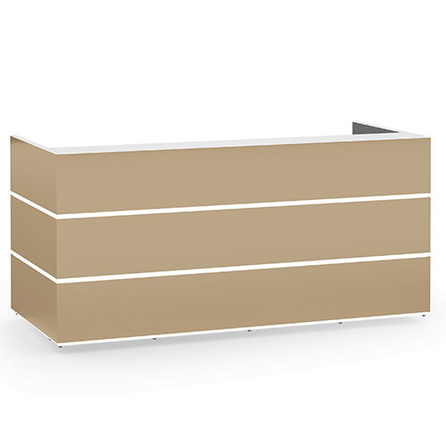 Pearl Modern Design Cappuccino Acrylux  Reception Desk with White Glass Counter Top W2400xD1050xH1120
