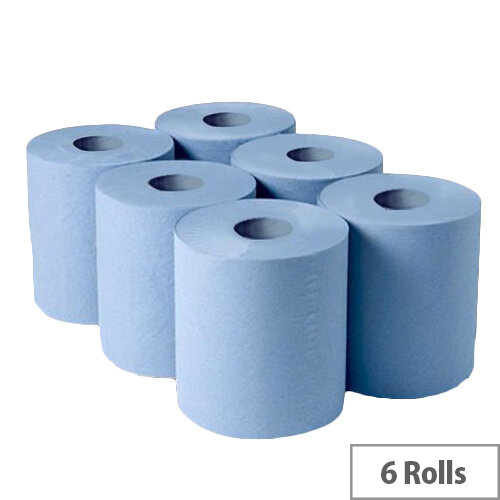 Whitebox 1 Ply Blue Centrefeed 300mx175mm Pack of 6