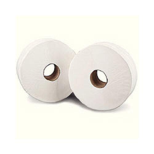 Mini Jumbo Toilet Roll 2-Ply 17.5cm H  x 9cm W Metres White Pack of 12 J26150