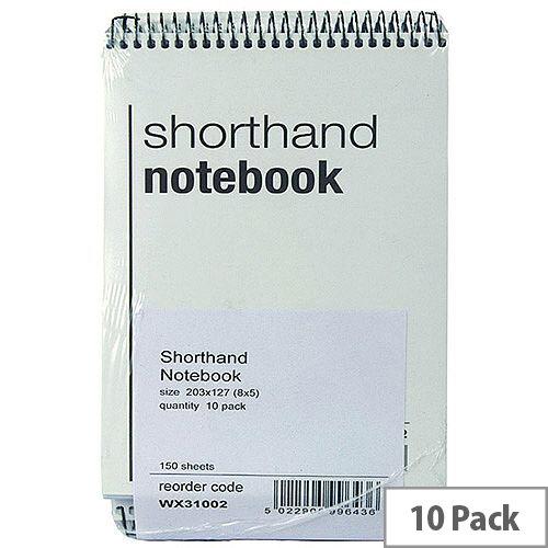Spiral Shorthand Notebook 150 Leaf 10 Pack