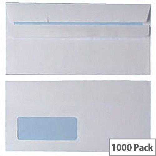 Envelopes DL Window 90gsm White Self Seal (Pack of 1000)