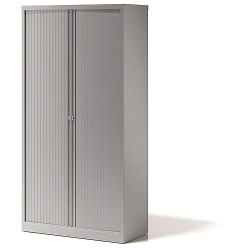 Bisley Side Opening Tambour Door Cupboard H1970xW1000xD470mm Silver - Supplied Empty, Variety of Shelves &Suspension Filing Roll Out Frames Available