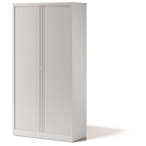 Bisley Side Opening Tambour Door Cupboard H1970xW1000xD470mm White - Supplied Empty, Variety of Shelves &Suspension Filing Roll Out Frames Available