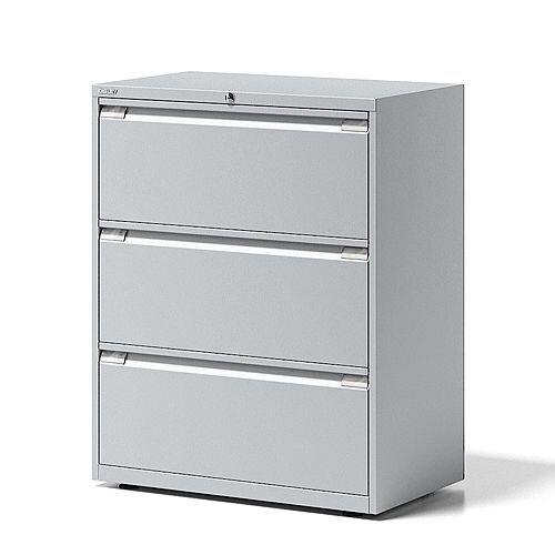 Bisley 3 Drawer Side Filing Cabinet Grey/Silver
