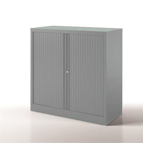 Bisley Side Opening Tambour Door Cupboard H1000xW1000xD470mm Goose Grey - Supplied Empty, Variety of Shelves &Suspension Filing Roll Out Frames Available