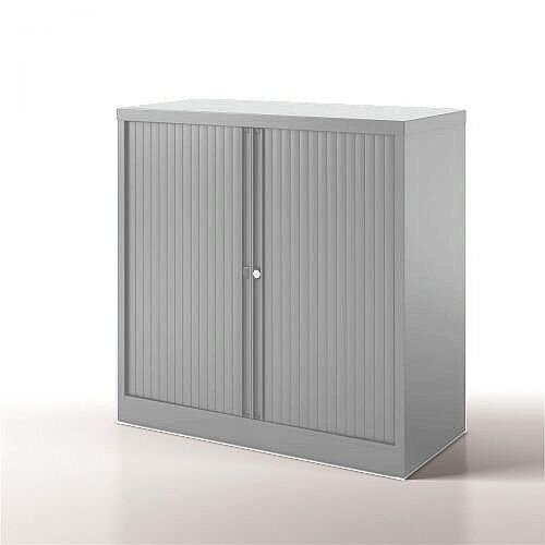 Bisley Side Opening Tambour Door Cupboard H1000xW1000xD470mm Silver - Supplied Empty, Variety of Shelves &Suspension Filing Roll Out Frames Available