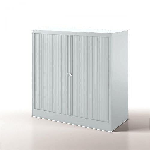 Bisley Side Opening Tambour Door Cupboard H1000xW1000xD470mm White - Supplied Empty, Variety of Shelves &Suspension Filing Roll Out Frames Available