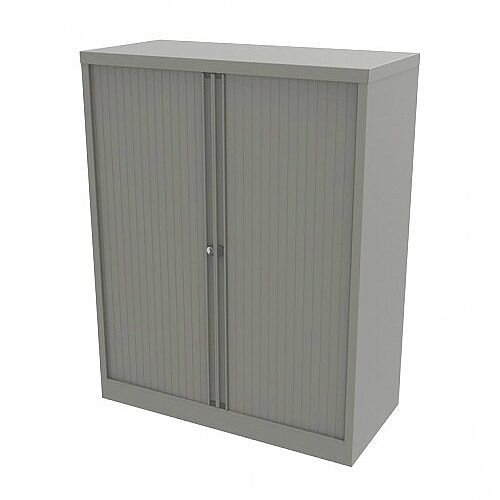 Bisley Side Opening Tambour Door Cupboard H1270xW1000xD470mm Goose Grey - Supplied Empty, Variety of Shelves & Suspension Filing Roll Out Frames Available