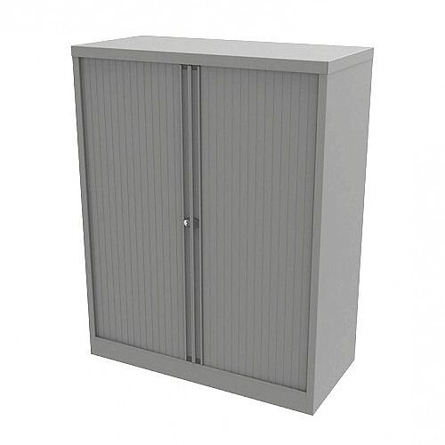 Bisley Side Opening Tambour Door Cupboard H1270xW1000xD470mm Silver - Supplied Empty, Variety of Shelves &Suspension Filing Roll Out Frames Available