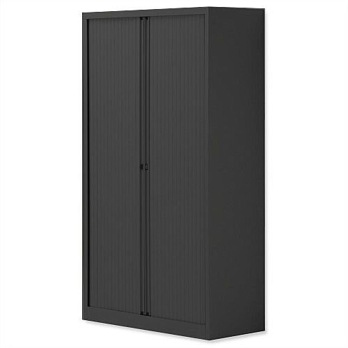 Bisley Side Opening Tambour Door Cupboard H1570xW1000xD470mm Black - Supplied Empty, Variety of Shelves &Suspension Filing Roll Out Frames Available