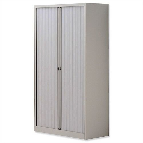 Bisley Side Opening Tambour Door Cupboard H1570xW1000xD470mm Goose Grey - Supplied Empty, Variety of Shelves &Suspension Filing Roll Out Frames Available