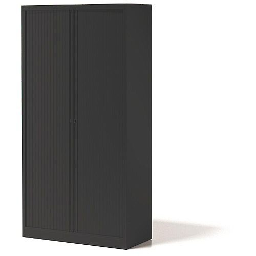 Bisley Side Opening Tambour Door Cupboard H2270xW1000xD470mm Black - Supplied Empty, Variety of Shelves & Suspension Filing Roll Out Frames Available