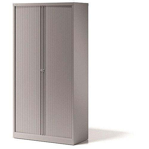 Bisley Side Opening Tambour Door Cupboard H2270xW1000xD470mm Goose Grey  - Supplied Empty, Variety of Shelves &Suspension Filing Roll Out Frames Available