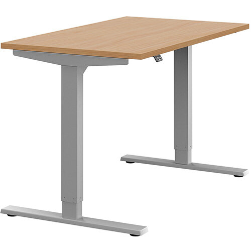 Zoom Height Adjustable Sit Stand Office Desk Plain Top W1200mmxD700mmxH685-1185mm Beech Top Silver Frame - Prevents &Reduces Muscle &Back Problems, Poor Circulation &Increases Brain Activity.