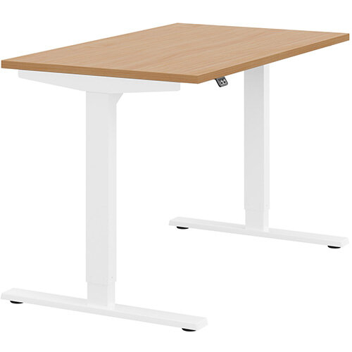 Zoom Height Adjustable Sit Stand Office Desk Plain Top W1200mmxD700mmxH685-1185mm Beech Top White Frame - Prevents &Reduces Muscle &Back Problems, Poor Circulation &Increases Brain Activity.