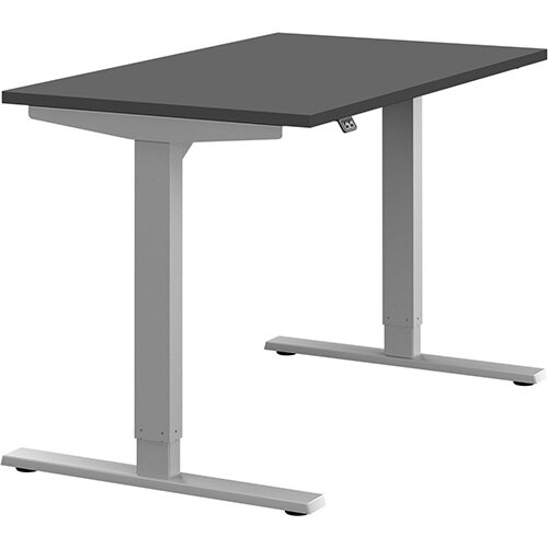 Zoom Height Adjustable Sit Stand Office Desk Plain Top W1200mmxD700mmxH685-1185mm Graphite Top Silver Frame - Prevents &Reduces Muscle &Back Problems, Poor Circulation &Increases Brain Activity.
