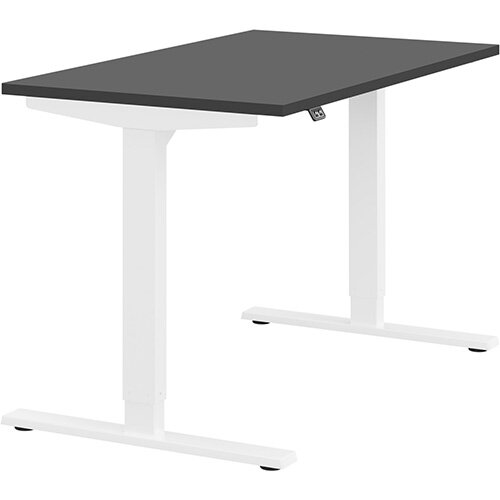 Zoom Height Adjustable Sit Stand Office Desk Plain Top W1200mmxD700mmxH685-1185mm Graphite Top White Frame - Prevents &Reduces Muscle &Back Problems, Poor Circulation &Increases Brain Activity.
