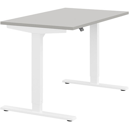 Zoom Height Adjustable Sit Stand Office Desk Plain Top W1200mmxD700mmxH685-1185mm Grey Top White Frame - Prevents &Reduces Muscle &Back Problems, Poor Circulation &Increases Brain Activity.