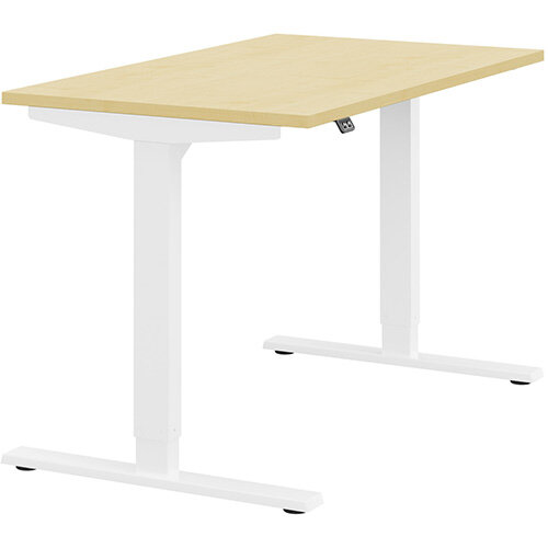 Zoom Height Adjustable Sit Stand Office Desk Plain Top W1200mmxD700mmxH685-1185mm Maple Top White Frame - Prevents &Reduces Muscle &Back Problems, Poor Circulation &Increases Brain Activity.