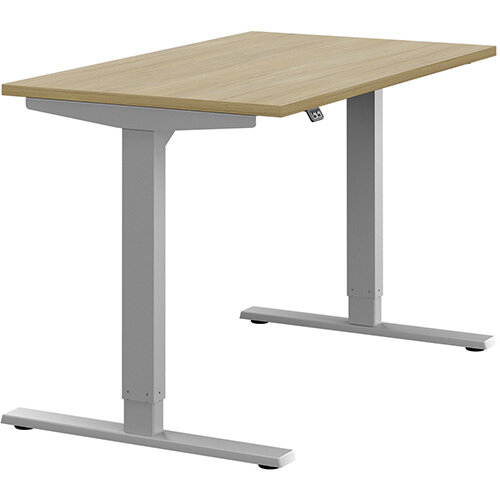 Zoom Height Adjustable Sit Stand Office Desk Plain Top W1200mmxD700mmxH685-1185mm Urban Oak Top Silver Frame - Prevents &Reduces Muscle &Back Problems, Poor Circulation &Increases Brain Activity.