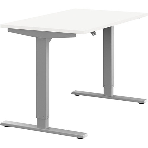 Zoom Height Adjustable Sit Stand Office Desk Plain Top W1200mmxD700mmxH685-1185mm White Top Silver Frame - Prevents &Reduces Muscle &Back Problems, Poor Circulation &Increases Brain Activity.