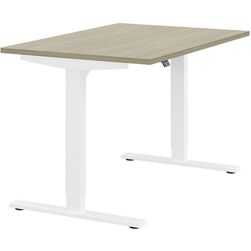 Zoom Height Adjustable Sit Stand Office Desk Plain Top W1200mmxD800mmxH685-1185mm Arctic Oak Top White Frame - Prevents &Reduces Muscle &Back Problems, Poor Circulation &Increases Brain Activity.