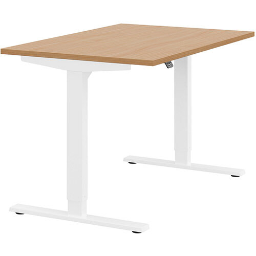 Zoom Height Adjustable Sit Stand Office Desk Plain Top W1200mmxD800mmxH685-1185mm Beech Top White Frame - Prevents &Reduces Muscle &Back Problems, Poor Circulation &Increases Brain Activity.