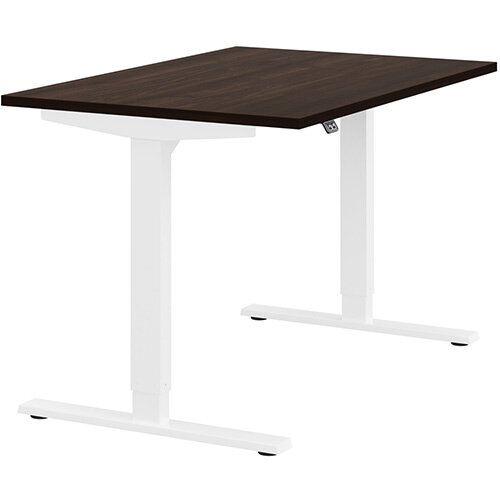 Zoom Height Adjustable Sit Stand Office Desk Plain Top W1200mmxD800mmxH685-1185mm Dark Walnut Top White Frame - Prevents &Reduces Muscle &Back Problems, Poor Circulation &Increases Brain Activity.