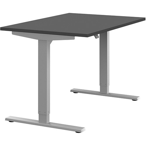 Zoom Height Adjustable Sit Stand Office Desk Plain Top W1200mmxD800mmxH685-1185mm Graphite Top Silver Frame - Prevents &Reduces Muscle &Back Problems, Poor Circulation &Increases Brain Activity.