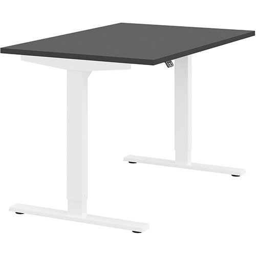 Zoom Height Adjustable Sit Stand Office Desk Plain Top W1200mmxD800mmxH685-1185mm Graphite Top White Frame - Prevents &Reduces Muscle &Back Problems, Poor Circulation &Increases Brain Activity.