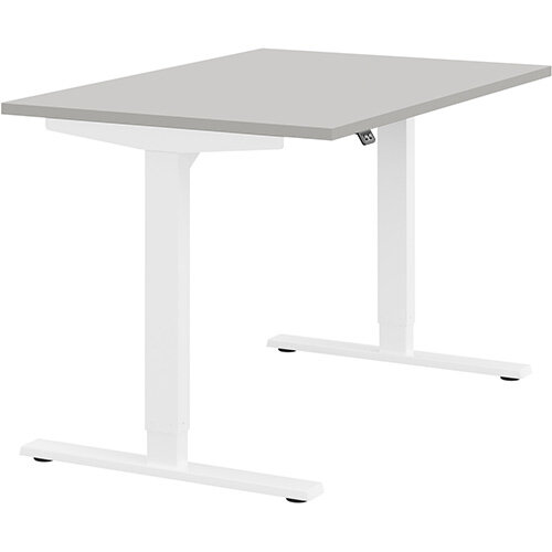 Zoom Height Adjustable Sit Stand Office Desk Plain Top W1200mmxD800mmxH685-1185mm Grey Top White Frame - Prevents &Reduces Muscle &Back Problems, Poor Circulation &Increases Brain Activity.