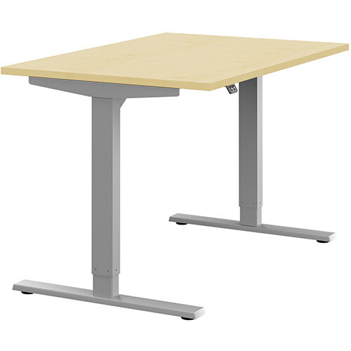 Zoom Height Adjustable Sit Stand Office Desk Plain Top W1200mmxD800mmxH685-1185mm Maple Top Silver Frame - Prevents &Reduces Muscle &Back Problems, Poor Circulation &Increases Brain Activity.