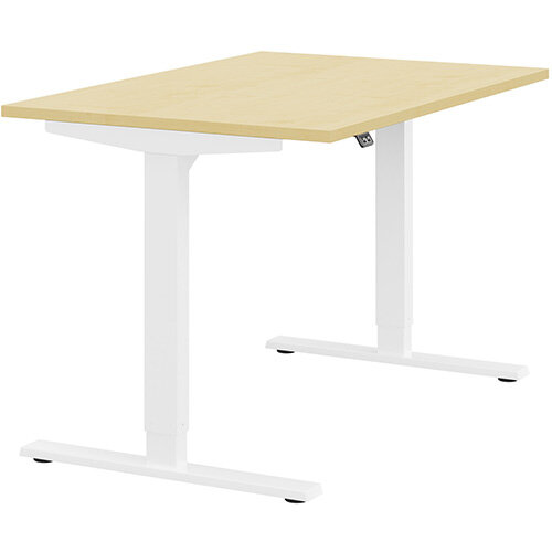 Zoom Height Adjustable Sit Stand Office Desk Plain Top W1200mmxD800mmxH685-1185mm Maple Top White Frame - Prevents &Reduces Muscle &Back Problems, Poor Circulation &Increases Brain Activity.