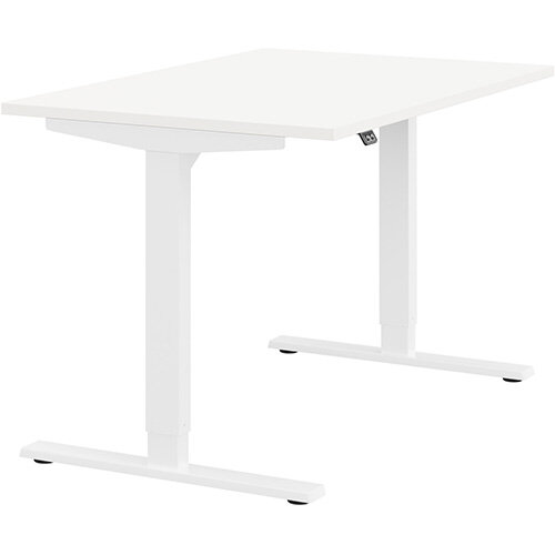 Zoom Height Adjustable Sit Stand Office Desk Plain Top W1200mmxD800mmxH685-1185mm White Top White Frame - Prevents &Reduces Muscle &Back Problems, Poor Circulation &Increases Brain Activity.