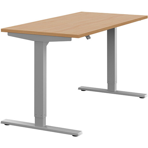 Zoom Height Adjustable Sit Stand Office Desk Plain Top W1400mmxD700mmxH685-1185mm Beech Top Silver Frame - Prevents &Reduces Muscle &Back Problems, Poor Circulation &Increases Brain Activity.